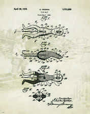 "Fishing Heddon Frog Lure US Patent Poster Art  Antique Reels  11""x14"" PAT56"