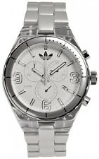 New Adidas Cambridge Chronograph Silver Aluminum Date Watch ADH2540 45mm $125