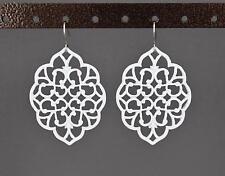 """White dangle earrings cut out filigree scroll oval teardrop 2 1/8"""" long"""