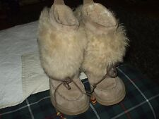 Uggs furry sheeps fur suede tan with beads mukluk warm boots 7