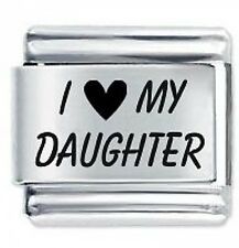 I LOVE MY DAUGHTER Daisy Charm by JSC Fits Classic Size Italian Charms Bracelet