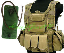 Tactical Airsoft Adjustable MOLLE VEST with Hydration Water Reservoir (DE Tan)
