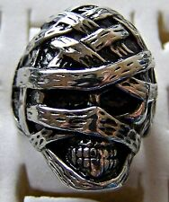 GOTHIC ~ S/STEEL ~ SIZE:11 ~ MUMMY_SCULL~  RING -- (GREAT_GIFT)