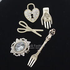 5Pcs Art Nouveau Scissors Fork Heart Palm Gemstone Gold Lapel Brooch Pin Badge