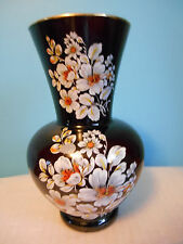 "ARDALT 10"" BLACK VASE WITH WHITE FLOWERS AND GOLD LIP - ITALY"