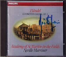 Neville MARRINER Signiert HANDEL 6 Concerti Grossi Op.3 1982 CD Concerto Grosso