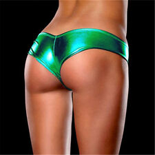 Sexy Lingerie Women Knickers Underwear Faux Leather Panties Green PVC Underpants