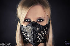GENUINE LEATHER STUDDED SPIKED FACE MUZZLE  Hood mask Masquerade or Fancy Dress