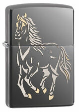 Zippo 28645, Running Horse, Black Ice Chrome Finish Lighter, Full Size