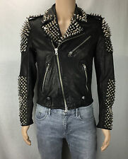 BURBERRY MENS STUDDED LEATHER BIKER JACKET