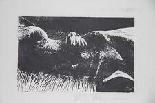 """""""Jeune femme nue dans l'herbe"""" Lithographie signée de Loic DUBIGEON"""