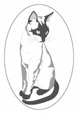 """4""""X6 SIAMESE  static cling etched glass window decal for your home, auto, and RV"""
