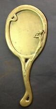 VINTAGE BRASS ART DECO HAND HELD VANITY MIRROR WITH FAIRY NYMPH LADY