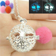 Glow Tree Silver Locket Box Necklace Perfume Aromatherapy Essential Oil Diffuser