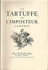 """Molière Tartuffe pur chiffon """"Trois fleurs de lin"""" Exemplaire nominatif"""