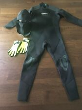 Akona Adventure Full Body Wetsuit Size XL Black Neoprene Gloves And Head Gear