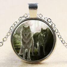 Tow wolves Cabochon Glass silver necklace for women men Jewelry MS#10