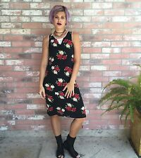 Vintage 90's Sweet Soda Red Rose Lace Trim Bias-Cut Dress GIRLS 14/Women's 2