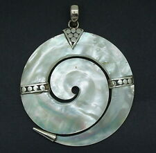 MOTHER OF PEARL Pendant Sprial Round Handcrafted  in 925 Silver (New)