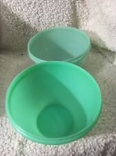 Two Lot Of Vintage TUPPERWARE 2pc CRISP IT- Lettuce Keeper/CRISPER Jadeite