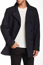 NWT Kenneth Cole Double Breasted Black Wool Coat Peacoat Jacket, Navy, Medium M