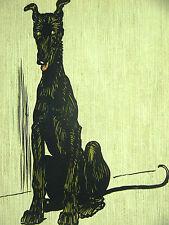 Cecil Aldin c 1900 Sweet Big and Lanky BLACK Wolfhound PUPPY DOG - Print Matted