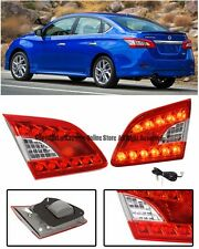 For 13-15 Nissan Sentra JDM LED Rear Chrome Housing Red Lens Inner Tail Lights