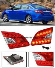 For 13-15 Nissan Sentra JDM LED Rear Chrome Housing Red Lens Inner Tail Lights
