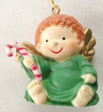"""Green 1 1/2""""  Angel Figurine Ornament with Candy Cane"""