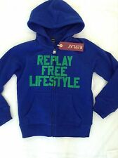BNWT 100% Auth By Replay, KIDS / Boys Blue Jumper / Hoody With Logo. 6 YRS