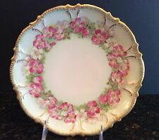 Hand Painted French China Pink Roses & Gold Coronet Limoges Cabinet Plate