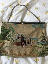 Antique French Galleries Lafayette Petit Point Tapestry Handbag HORSE CARRIAGE