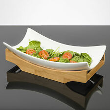 """sumatra"" designer ceramic serving dish avec bambou base en blanc brillant finition"