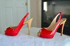 $895 Christian LOUBOUTIN So Private Red Patent Platform Slingback Heels 36.5