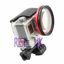 +10 58mm close up lens macro+ black adapter ring for GoPro Hero 3 + 4