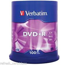 VERBATIM DVD+R RECORDABLE MEDIA 100 PACK SPINDLE CAKE /  16X SPEED / 4.7GB DATA
