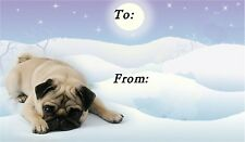 Pug Christmas Labels by Starprint - No 1