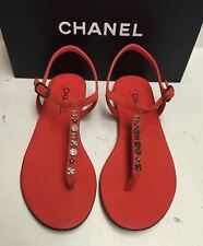 Chanel Classic CC Logo Suede T-Strap Thong Sandals Flats Shoes 40.5