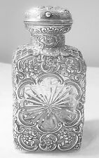 ANTIQUE STERLING SILVER OVER CRYSTAL PERFUME BOTTLE-WILLIAM COMYNS