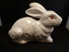 Antique White French Rabbit Bunny Bavent  Faience Glass Eyes  GAZING