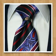 MENS NECK TIE RING TIE BLING CLASP CHARM RUBY EURO T WEDDING GROOM RHODIUM NEW