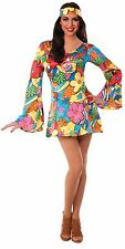 Groovy Retro Go Go Flower Dress Hippie Dancer Halloween Costume Womens M/L