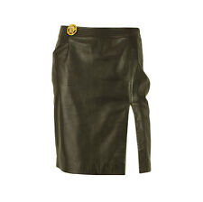 Vintage Versace Jeans Couture Black Leather Medusa Head Pin Mini Skirt sz 26/40
