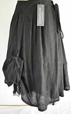 gorgeous GERMAN DESIGNER CHAmpagne  hitched parachute linen skirt L/XL black