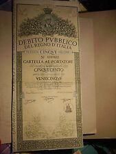 DEBITO PUBBLICO DEL REGNO D'ITALIA CARTELLA AL PORTATORE DA LIRE CINQUECENTO