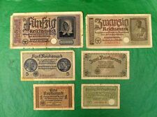 Germany WWII 50; 20; 5; 2; 1; 0.5 Reichsmark 6 Banknotes III Reich