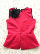 Zara Zip Back Red Peplum Top Black Feathered Clip On Brooch Drama Festive NWOT