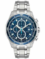 Citizen CA0349-51L Mens Eco-Drive Blue Dial Stainless Steel Chronograph Watch
