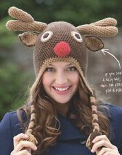 Crochet Pattern For A Fun Novelty Reindeer Christmas Hat