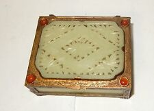 RARE CHINESE SIX PANEL FLORAL CARVED TOP WHITE JADE HUMIDOR JAR BOX